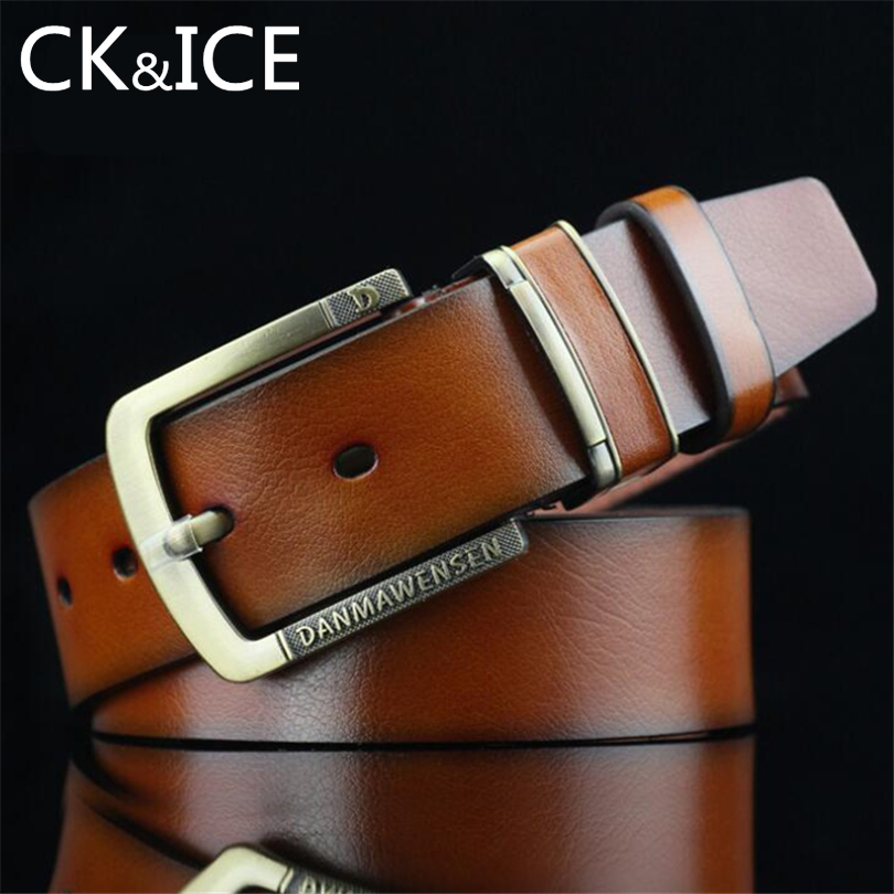 CK&ICE Vintage Style Pin Buckle Good Quality PU Leather Belts For Mens Carving Letter Buckle Belt Cinturones Hombre Ceinture Men