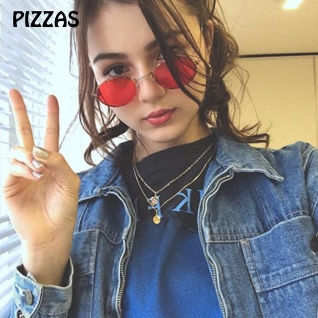 PIZZAS Retro oval Round Metal cute sexy female Sunglasses Women Eyewear Sun  glasses Fashion Brand Lens hd de sol red oculos 5726f6779d