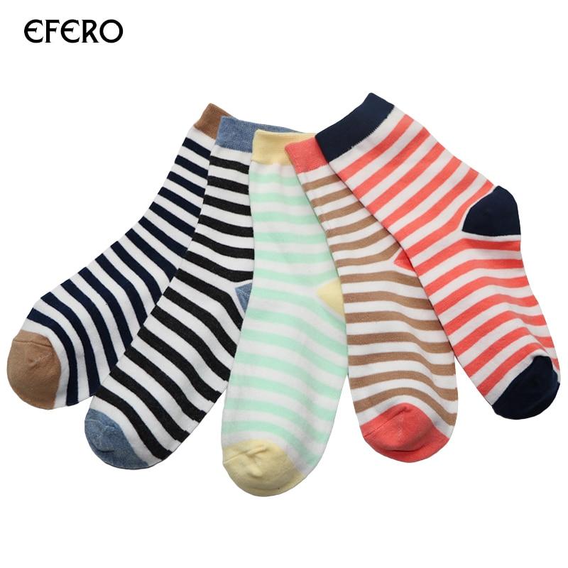 efero 4pairs Men Dress Socks Mens Stripe Socks Fashion Vintage Causal Men Design Ankle Short Business Socks Meias Masculinas