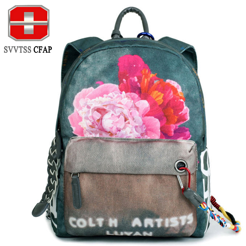 SVVTSSCFAP Women s Backpack Female Backpacks For Adolescent Girls Small Printing flower Backpack For Children School