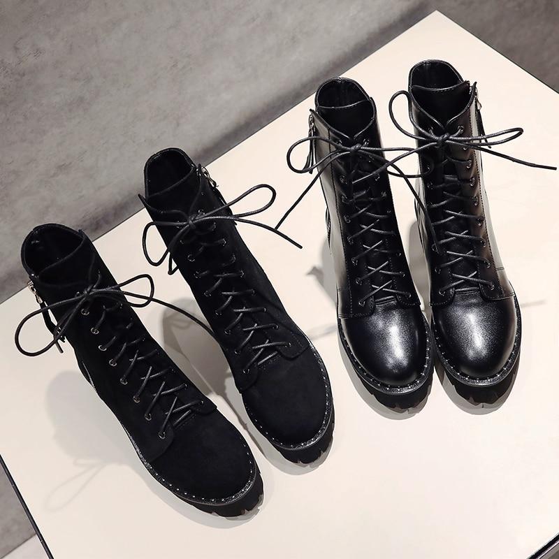 MNIXUAN Fatti A Mano scarpe da donna alla caviglia stivali inverno 2018 nuovo in vera pelle punta rotonda piattaforma di blocco tacchi alti martin stivali nero-in Stivaletti da Scarpe su  Gruppo 3