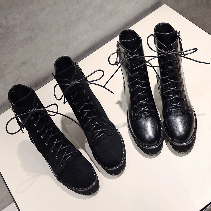 Hiver Véritable Matte Bout Hauts Main Mnixuan Noir Pour Cuir Leather 2018 Chaussures Martin Bottines Talons black Bloc En forme Nouvelle De Black Rond Femmes Bottes Plate Cowhide W8Tqp4TY
