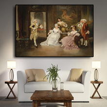 Vintage European Party Palace retrato carteles de pintura al óleo e impresiones lienzo Pop Art cuadro de pared escandinavo para la sala de estar