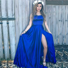 Bbonlinedress Sexy Halter Backless Prom Dress 2019 Sweep Train Royal Blue Evening with Split Vestido de fiesta