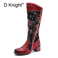 Fashion Patchwork Western Cowboy Boots Women Shoes Bohemian Genuine Leather Shoes Woman Vintage Side Zip Knee High Riding Boots