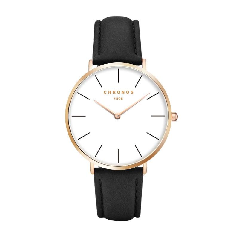 1898 Chronos Watch Top Brand Luxury Wrist Watch Men Women Fashion Couple Watches Leather Clock Saat Relogio Masculino Feminino