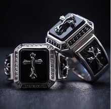 925 sterling silver inlaid natural agate midnight Godfather cross religious Gothic style ring