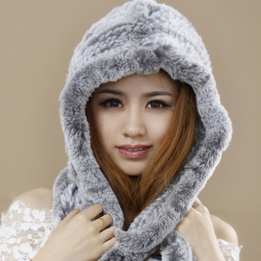 ФОТО New Arrival Fashion Women Hats Real Rex Rabbit Fur Hats Women Knitted Rex Rabbit Fur Hat With Tassels Winter Fur Beanies YH055