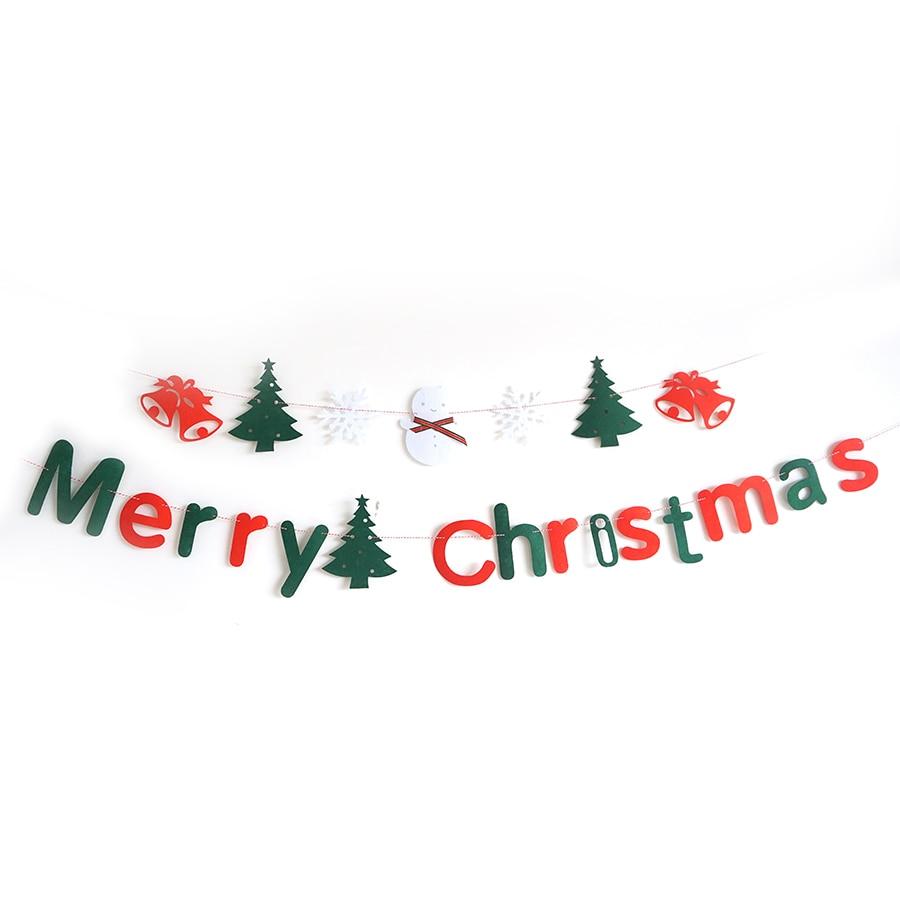 Новинка 2017 года Merry для рождественской вечеринки баннеры Рождество Аксессуары для дома стены красный зеленый картон письмо висит флаг знак ...