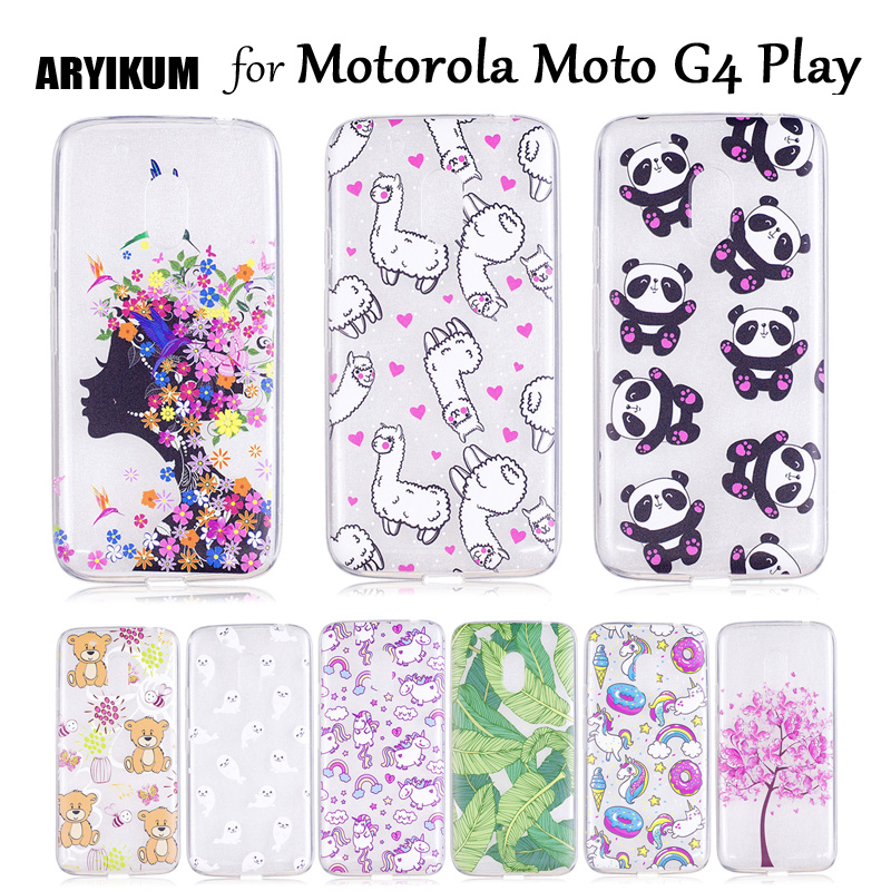 ARYIKUM Phone Case For Motorola Lenovo Moto G4 G 4 Play G4Play XT1602 Soft Silicone Mobile Accessories Flower Girl Cover Capinha