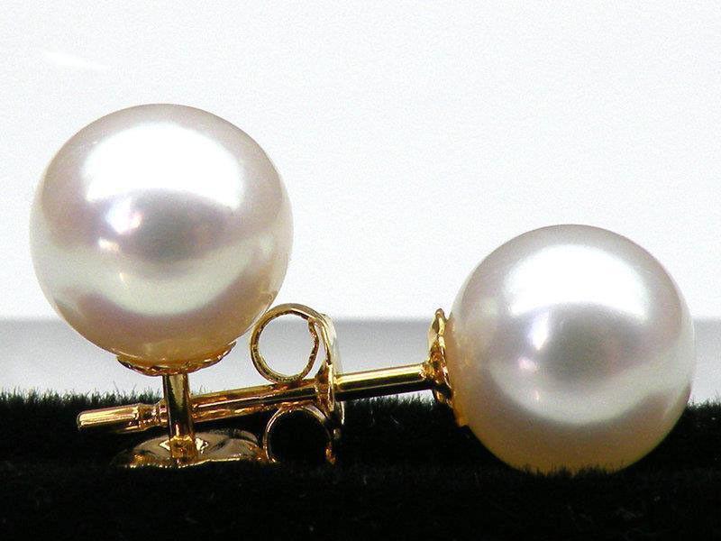 AAA + + + 6.8mm parfait rond blanc akoya perle boucle doreille solide 14 k or jauneAAA + + + 6.8mm parfait rond blanc akoya perle boucle doreille solide 14 k or jaune