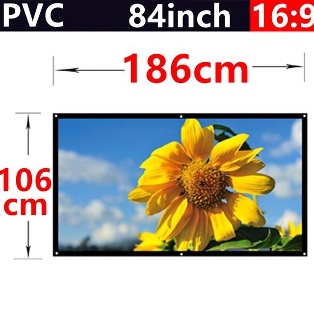 Venda de fábrica 84 polegada de 16:9 PVC fosco com 1.1 ganho de tela de projeção hd 3d home theater frete grátis