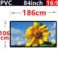 factory sale 84 Inch 16:9 PVC Fabric Matte With 1.1 Gain  projection screen Wall Mounted for hd 3d home theater  free shipping
