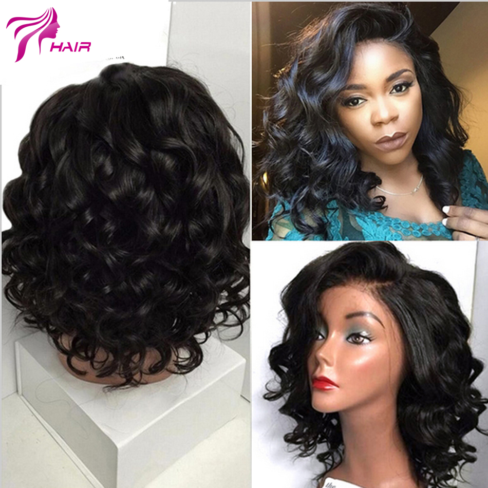 Bob Body Wave Glueless Full Lace Human Hair Wigs Short