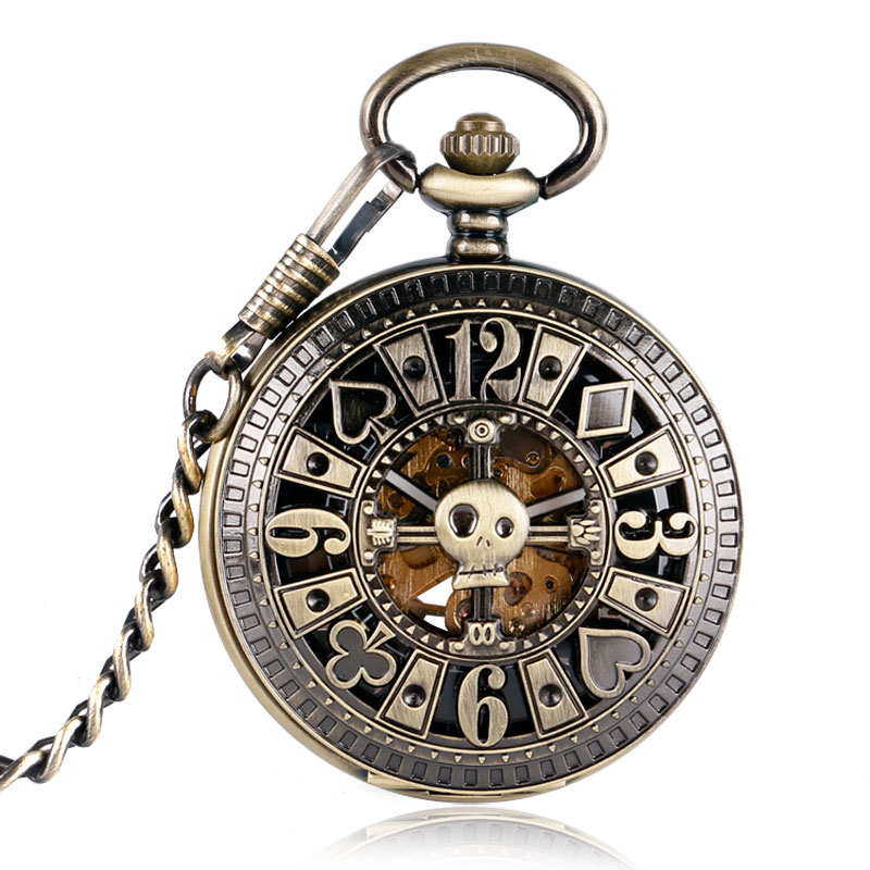 Fob Automatic Mechanical Poker Hollow Pendant Skull Bronze Pocket Watches With Chain Men Women Skeleton Watch Free Shipping vintage bronze quartz pocket watch glass bottle antique fob watches classic men women necklace pendant clock with chain gifts