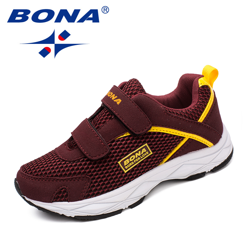 BONA New Fashion Style Children Casual Shoes Mesh Girls Flats Hook & Loop Girls Loafers Outdoor Fashion Sneakers Free Shipping fashion style
