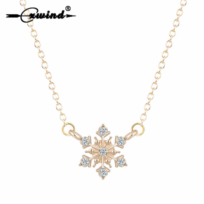 Cxwind Snowflake Charm Pendant Necklace Wedding Bridesmaid Prom Fashion Flower Necklaces Jewelry for Women Christmas Gift