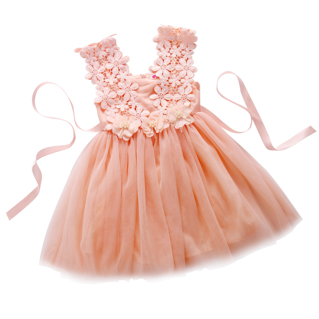 Baby Girl Princess Party Pearl Lace Tulle Flower Backless Gown Fancy Dress 2-7Y hatber optimum barbie the pearl princess 20627