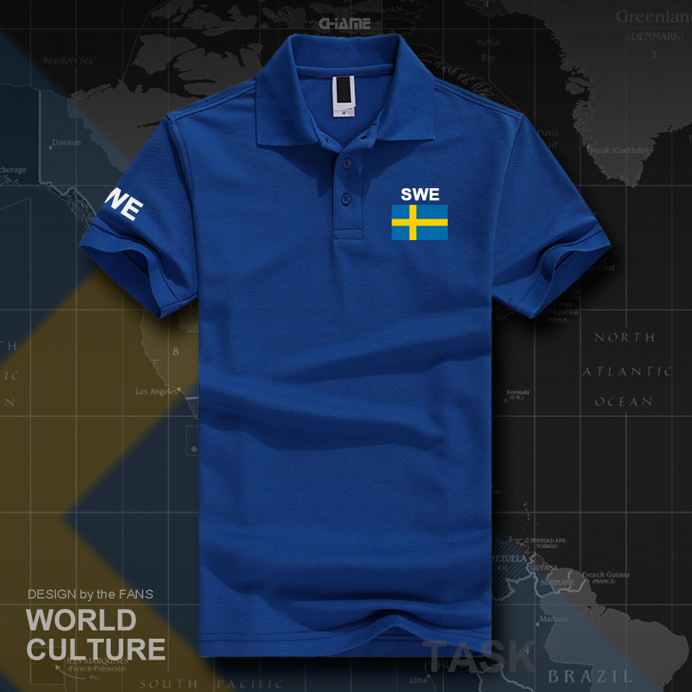 Sweden Sverige Swedish Swede   polo   shirts men short sleeve white brands printed for country 2017 cotton nation team flag new SE