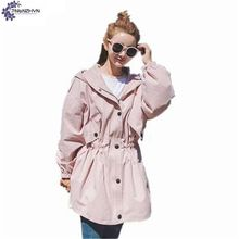 TNLNZHYN Women's clothing Spring Women Trench Coat Cotton Hooded Trench coat  Casual Loose Big Yards Windbreaker Outerwear SK368