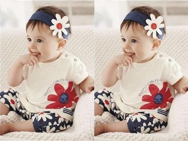 Baby Girls Kids T Shirt Headband Top Pants Shorts Flower 3pcs Outfit Clothes