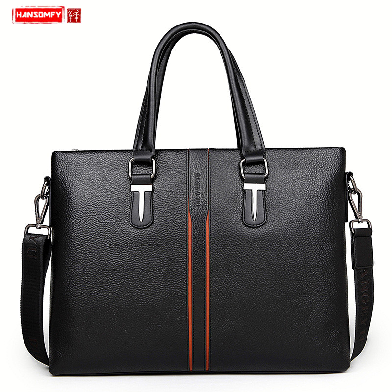 New Men's Bag The First Layer Cowhide Business Handbag Genuine Leather Shoulder Laptop Messenger Bag Official Document Briefcase