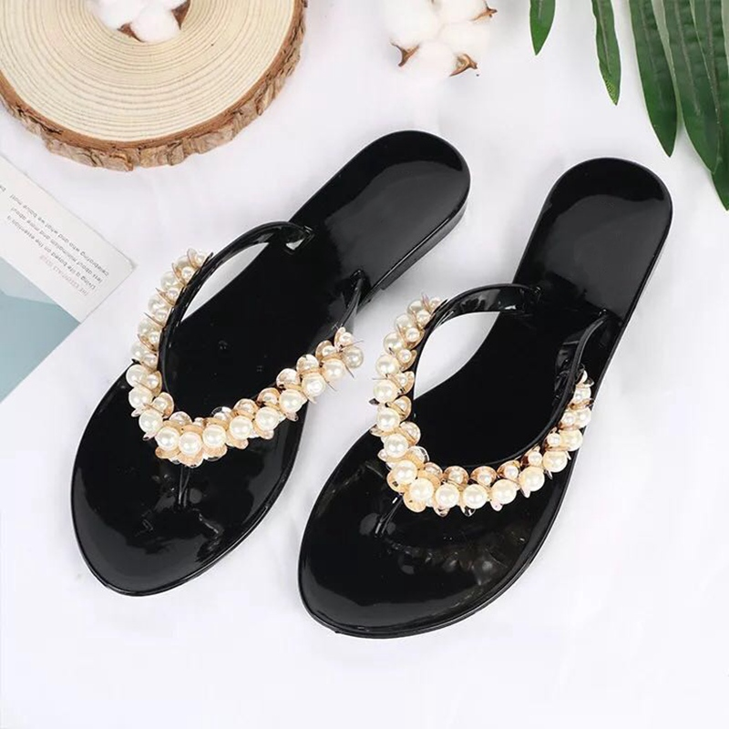 Women Flat Slippers Summer Beach Flip Flops Sandals Fashion Pearl Slides Ladies Flat Shoes Female Soft Home Slipper Jelly Shoes