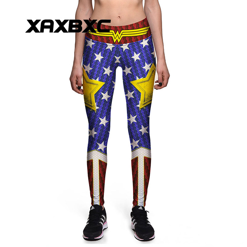 0080 Plus Size High Waist Silm Fitness Women   Leggings   Elastic Pants Trousers Sexy Girl Old Glory The Avengers Wonder Prints