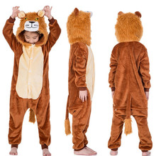 Купить с кэшбэком Children's Animal Kigurumi Tiger Lion Fox Sika Deer Unicorn Kids Onesies Pajamas Cosplay Costume for Halloween Carnival Party