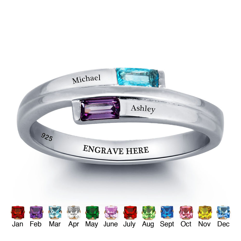 Personalized Mother Rings Women 925 Sterling Silver Birthstone Promise Ring Engrave Name Best Anniversary Gift ( RI101782) personalized birthstone ring 925 sterling silver heart stones engrave name jewelry engagement gift mother rings ri101793