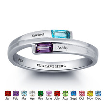 купить Personalized Engraved Names Birthstone Jewelry 925 Sterling Silver Cubic Zirconia Ring Free Gift Box (JewelOra RI101782) по цене 1757.89 рублей
