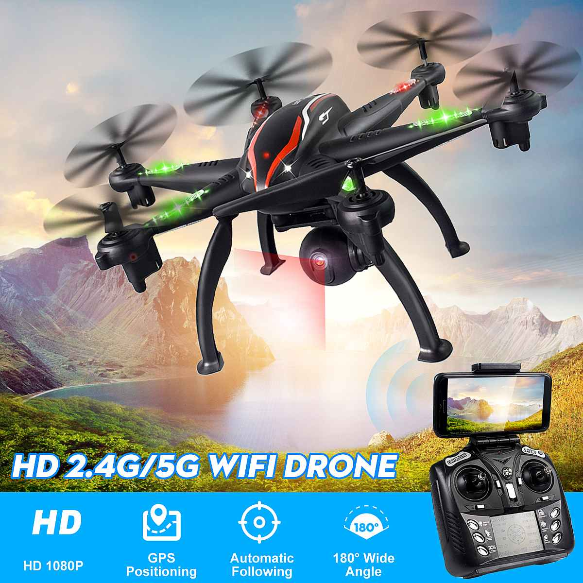 5G WiFi Drone Aerial Photography RC Camera Drone GPS 5G WiFi 1080P Camera Smart Follow Mode 6 Axis Gyro Quadcopter Professional image