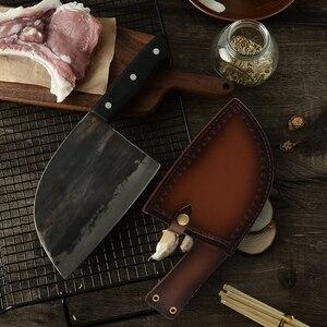 Image 2 - XYj El Yapımı Dövme Çin Kasap Mutfak Bıçağı Yüksek Karbon Çelik Şef bıçağı Kemik Kıyıcı Tam Tang Kolu Bıçak ve Hediye kılıf