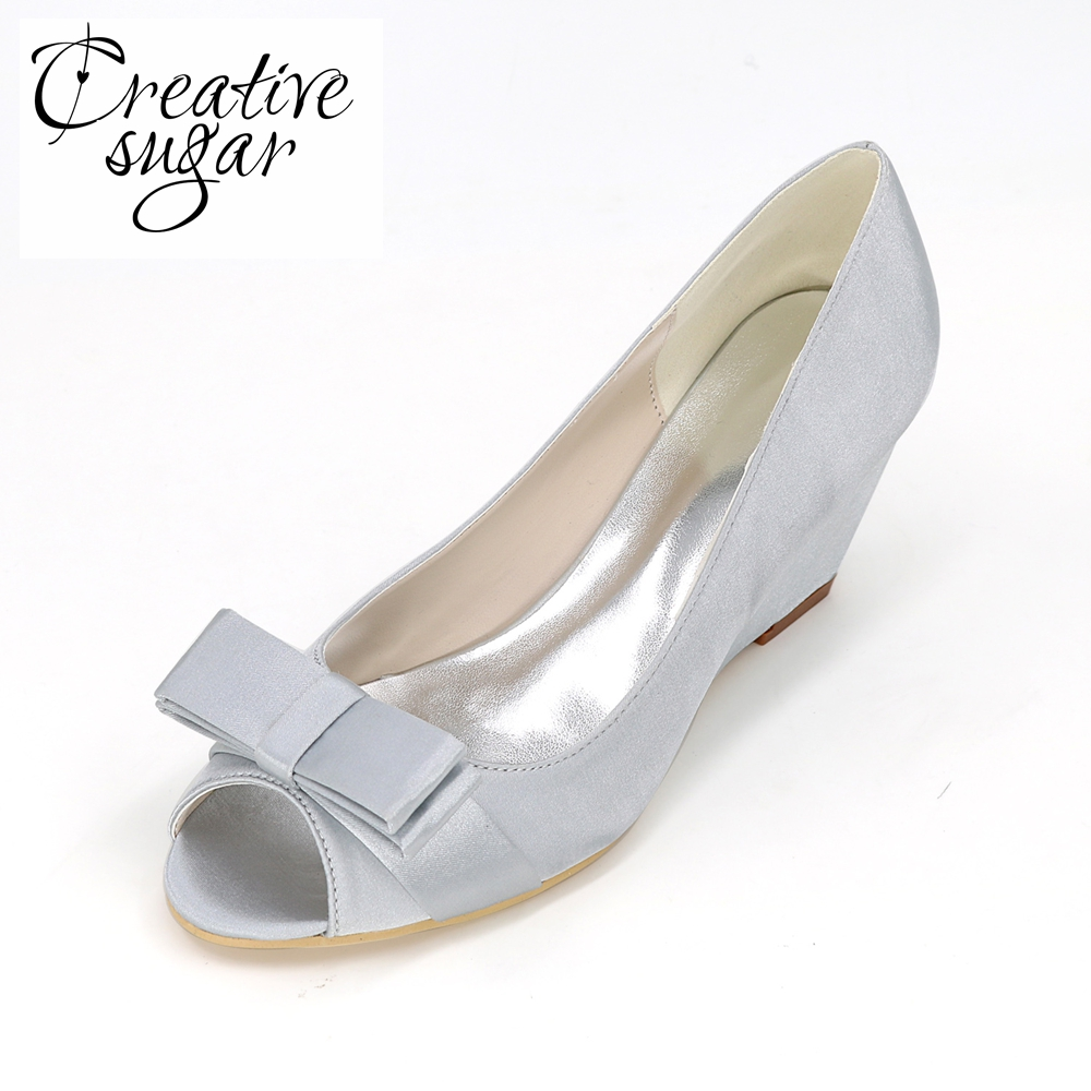 Creativesugar Elegant beach wedding wedges medium heel satin with bowknot lady dress shoes royal blue champagne purple white