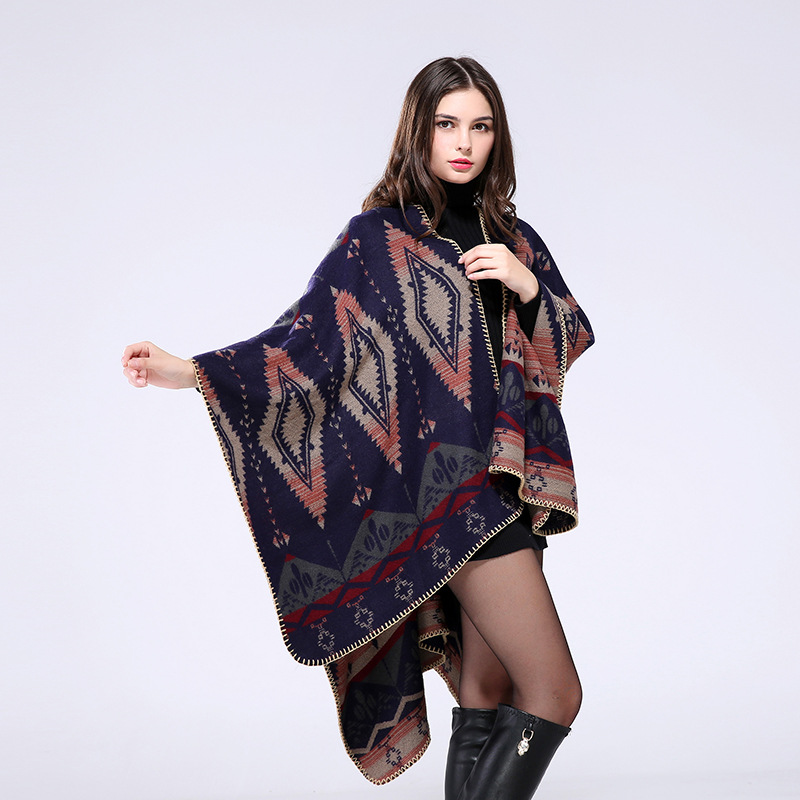 2017 new style Women winter autum fashion stoles oversized Blanket boho style plaid thick warm Poncho Pashmina scarves
