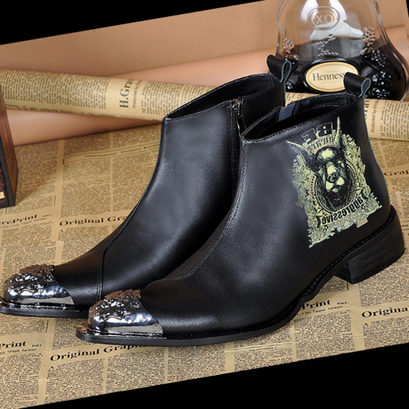 Christia Bella Brand Italian Men Dress Boots Genuine Leather Business Ankle Boots Formal Men Dress Shoes Winter Motorcycle Boots