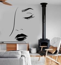 Girls Beauty Salon Wall Stickers Lips Sexy Woman Eye Removable Living Room Decal Modern Fashion Design Home Decor PVCSYY386