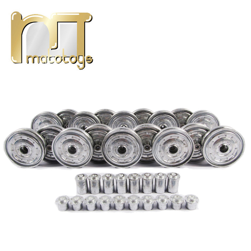 Mato Kingtiger metal upgraded road wheels with bearings and metal cap for 1 16 Henglong 3888-1 3888A-1 King Tiger RC tank parts henglong 3869 3879 3888 3899 rc tank 1 16 parts steel drive system driving gear box free shipping
