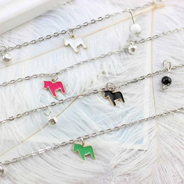 סוסים חמים גרביים לנשים תכשיטי אופנה בסגנון קוריאני עם חרוזים קרמיקה שרשרת רגל הילדה עכסה עם פעמון מתנת יום הולדת ורוד