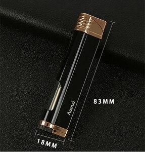 Image 2 - Jet Torch Turbo Feuerzeug Gas Windows Kompakte Rohr Leichter Streifen Winddicht Metall Zigarre Leichter 1300 C Butan Kein Gas
