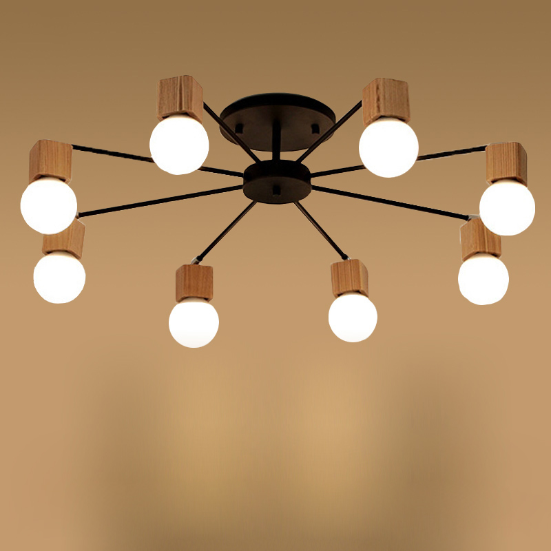 цены Nordic Home Dec Wooden Living Room Ceiling Light Creatiive Loft Light Bedroom Cafe Brief Light With Led Bulbs Free Shipping