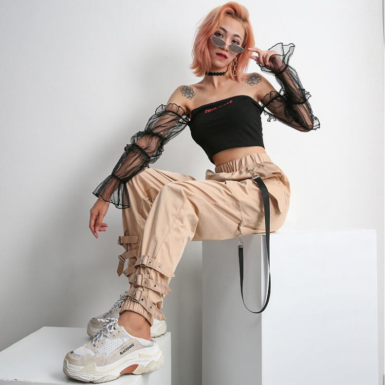 Streetwear Khaki Casual Cargo Pants Capris Women Elastic High Waist Joggers Buttons Fashion Hip Hop Long Trousers