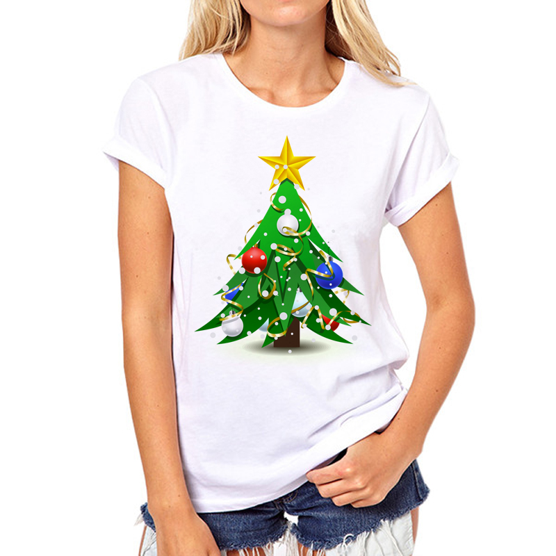 Christmas Tree New Fashion womens T-shirts Short Sleeve t shirt womens Brand Clothing Factory outlets can be customized ...