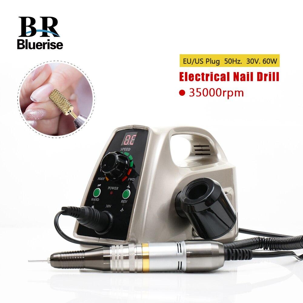 Taladro eléctrico del clavo 35000 RPM máquina de la manicura pedicura herramientas accesorios brocas archivo Strong Nail Art equipo 60 W 110 V 220 V