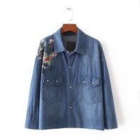 Autumn Za Women Foral Embroideried Denim Loose Pocket Blouses Flower Shirt Cotton Womens Camisa Loose