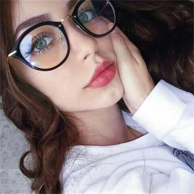 0b2f6c84acd39 Transparentes Mulheres Óculos Óculos Moda Limpar Rodada Vidros Ópticos  Quadro Marca Designer Eye Glasses oculos femininos