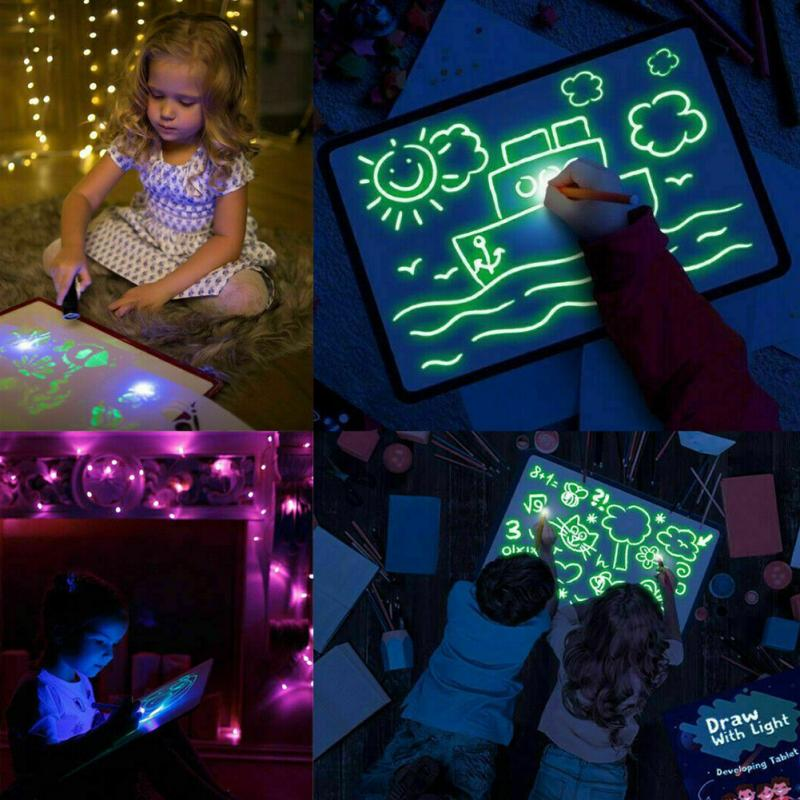 Family DIY Doodle Tool Magic Drawing Board Set In Dark Children Funny Toys Draw With Night Light Writing Language Noctilucent