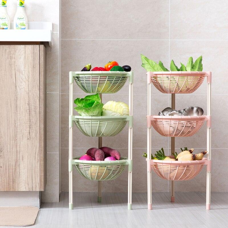 DIY 3 Tier kitchen vegetable and fruit Floor racks Organizer Stand Holder for Tableware storage shelf Space Saving Basket decor-in Storage Holders & Racks from Home & Garden    1