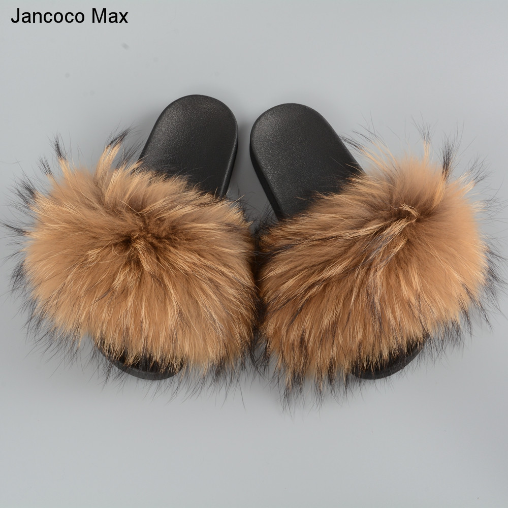 Jancoco Max 2018 New Arrival Women Real Raccoon Fur Slippers Fashion Style Summer Slides S60GLOves20B