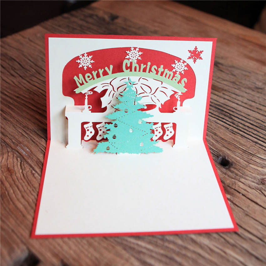 happy new year greeting card 3d pop up handmade christmas tree in cards invitations from home garden on aliexpresscom alibaba group